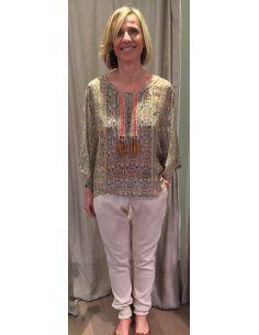Argentique blouse perlée mosaique