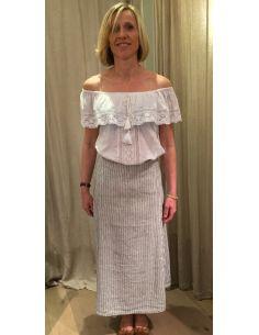Laurence Bras jupe longue lin et coton