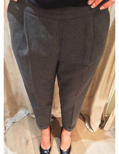 Teoh&Lea pantalon flanel gris bandes noir et corail cotés