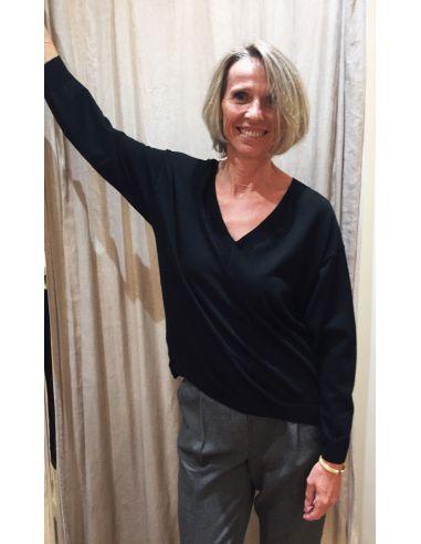 Teoh & Léa pullover col rond laine extrafine mérinos noir