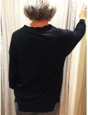 Teoh & Léa pull col V laine extrafine mérinos noir