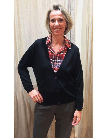 Teoh & Léa V vest extrafine merinos wool black