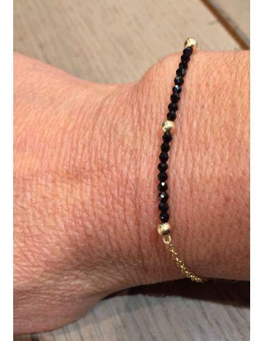 OriginC Bracelet chaine filled gold 3 boules doré 16 a 18 pierres