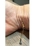 Bracelet chaine argent 2 boules doré ou argent 7 a 8 pierres