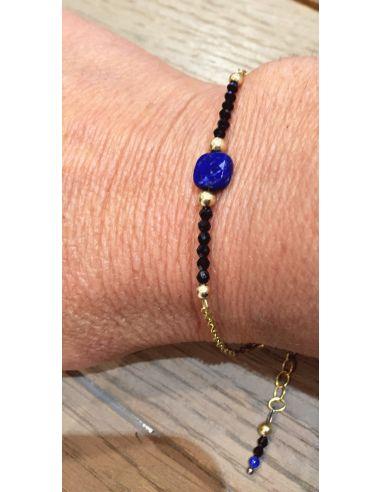 OriginC Bracelet lapis carré chaine gold filled 4 boules doré 7 a 10 pierres