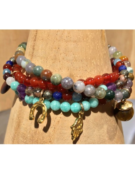 Mon Envie bracelet perles semi-precieuse jade amazonite ou multi PO