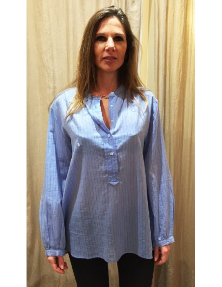 Laurence Bras chemise romy coton tissé blue stripes
