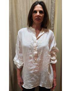 Laurence Bras chemise romy voile de coton ecru pale rose pale