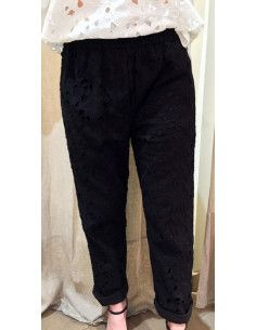 My Sunday Morning pantalon HARVEY pants ajoure brode noir coton