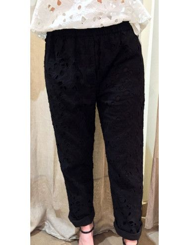 My Sunday Morning pantalon HARVEY pants ajouré brodé noir coton