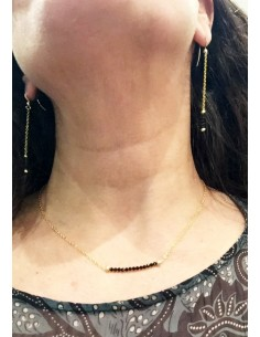 OriginC Collier spinelle chaine gold filled 3 boules doré 14 pierres
