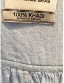 Laurence Bras chemise cigar coton Khadi tissé main plissée bleu mélangé