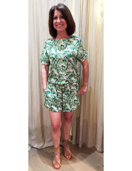 My Sunday Morning short JIM palm green print in viscose