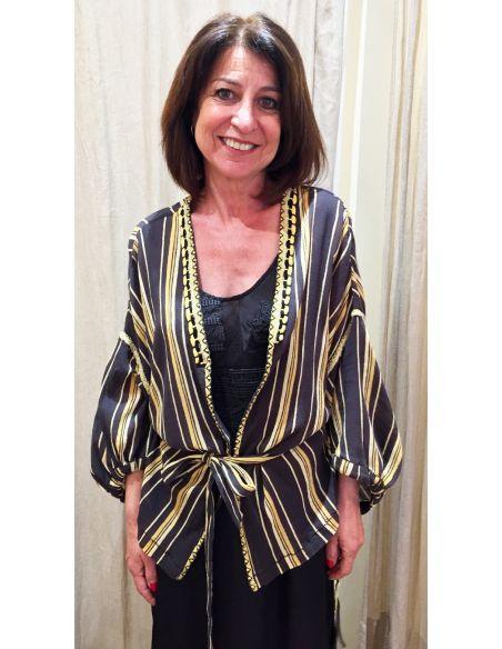 Teoh&Lea Veste kimono  noir et jaune