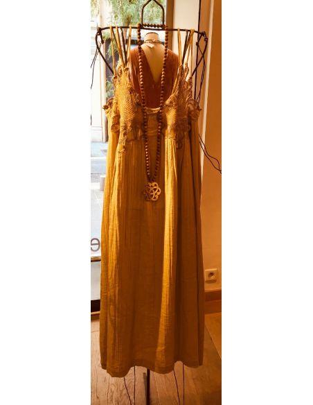 My Sunday Morning Robe longue bretelles ELLYN dentelle dos beige coton
