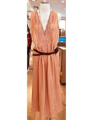 My Sunday Morning Robe longue ZOE dentelle rose coton
