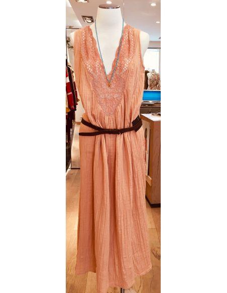 My Sunday Morning Robe longue ZOEY dentelle rose coton