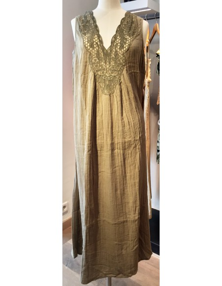 My Sunday Morning long dress ZOEY front&back with embroidery green cotton