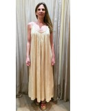 My Sunday Morning long dress ELLYN back with embroidery nude cotton