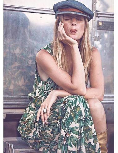 My Sunday Morning Midi dress MELODY viscose palm green print