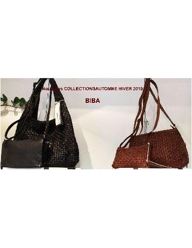 BIBA braided big bag Kansas KA15 noir ou cognac