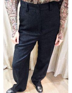 Laurence Bras pantalon large PLATE laine Charbon