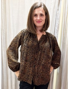 Laurence Bras shirt CIGAR wool leopard