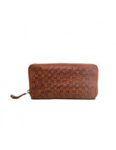 BIBA portefeuille cuir tressé KANSAS KA14 noir cognac rouge ou cognac