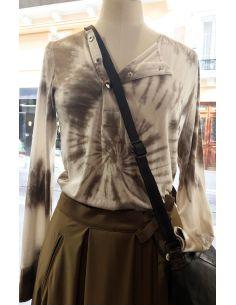 Laurence Bras Tshirt manches longues GRENADE coton beige et kaki Tie&DIE