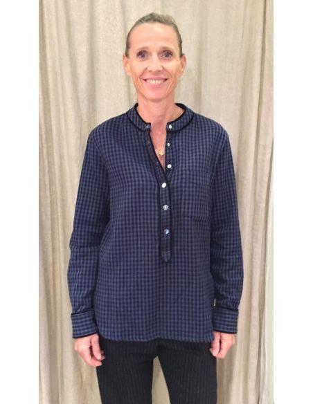 Laurence Bras blouse CORNER  coton tissé sport carreaux
