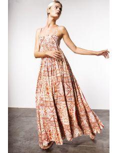 V De VINSTER long dress JOHN DRESS coton orange print