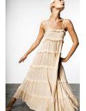 VDeVinster Robe longue bretelles FRILL DRESS coton ecru