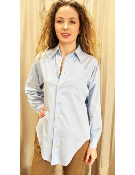 Laurence Bras Oversize loose SHIRT COSTAS cotton blue