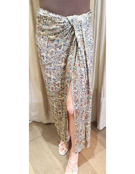 Laurence Bras jupe longue MOUCHOIR droite fendue viscose imprimé cachemire bleu