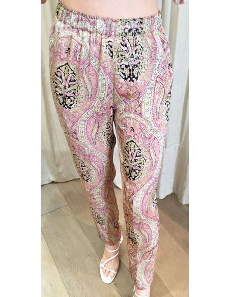 Laurence Bras loose pants CAKE viscose kasmir print pink