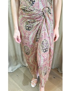 Laurence Bras long skirt MOUCHOIR viscose kasmir print pink