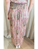 Laurence Bras jupe longue MOUCHOIR droite fendue viscose imprimé cachemire rose