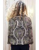 Laurence Bras chemise veste TRANS viscose imprimé cachemire noir