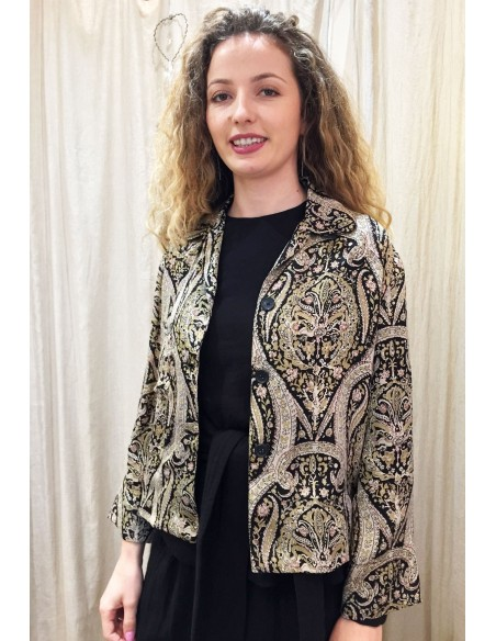 Laurence Bras shirt/jacket TRANS viscose kasmir print black