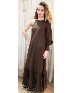 Laurence Bras assymetrical long dress ROSE brown