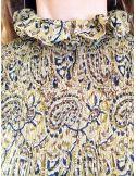 Laurence Bras chemise Rockvoile de viscose plissée jaune imprimé