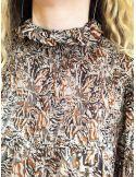 Laurence Bras chemise Rock marron voile de viscose plissée imprimé