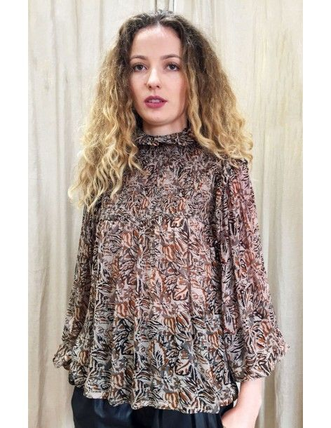 Laurence Bras Shirt ROCK viscose brown print