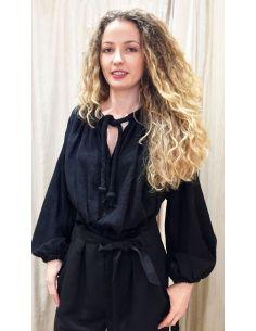 Laurence Bras chemise MALBORO coton plissée noire