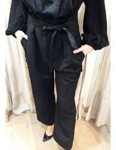 Laurence Bras loose pants TARAMA linen&viscose black