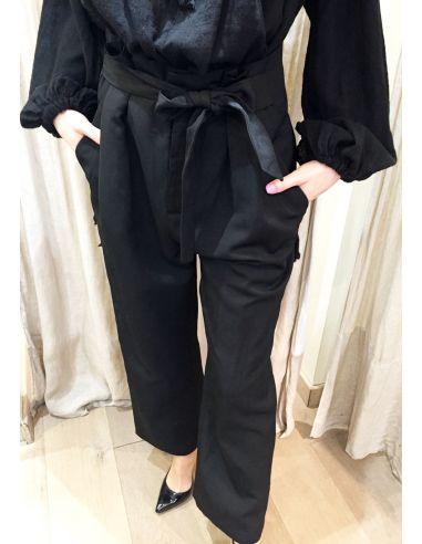 Laurence Bras pantalon large taille haute TARAMA lin&viscose noir