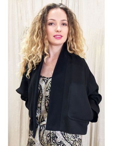 Laurence Bras short Jacket MARTIAL linen&viscose black