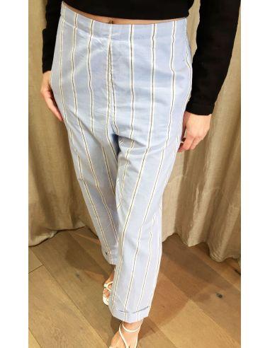 Laurence Bras Straight pants STATUE coton mens stripes