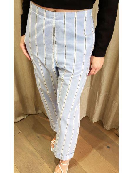Laurence Bras pantalon droit STATUE coton imprime mens stripes