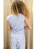 Laurence Bras Top CHEESE coton imprimé mens stripes